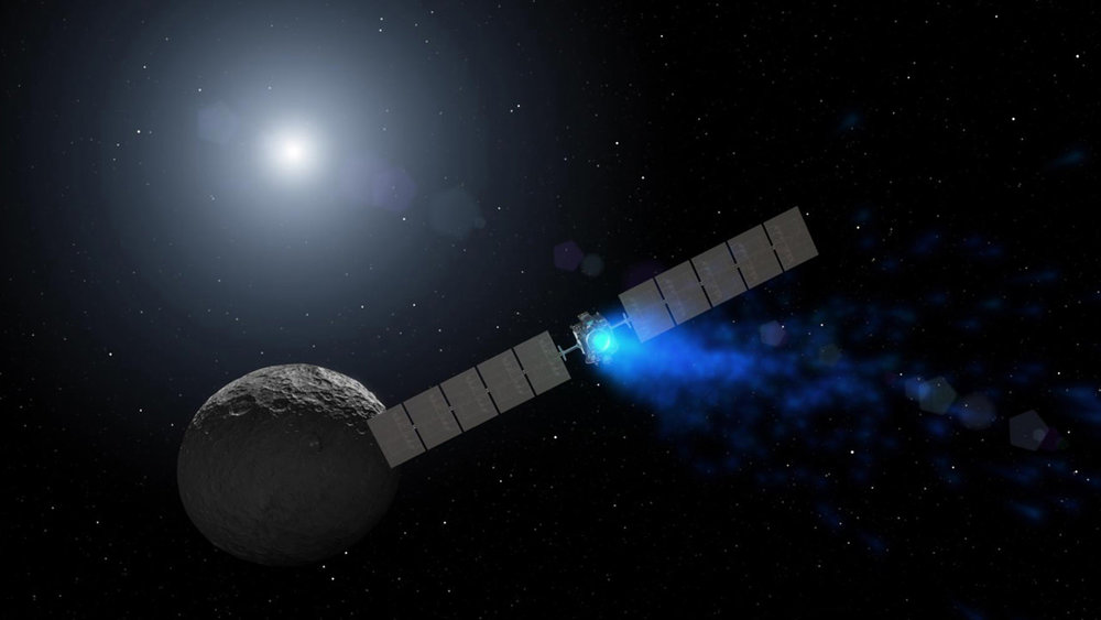 Artist's rendition of the Dawn mission on approach to the protoplanet Ceres. - Image Credit: NASA/JPL