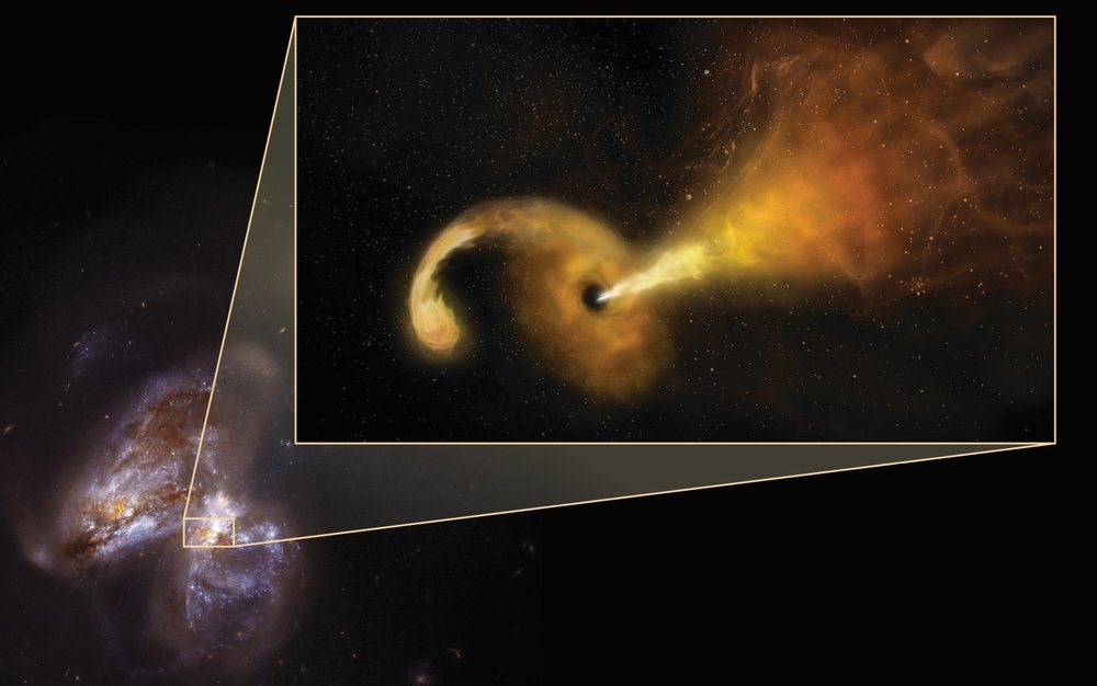 Artist conception of a tidal disruption event (TDE) that happens when a star passes fatally close to a supermassive black hole - Image Credit:  Sophia Dagnello, NRAO/AUI/NSF; NASA, STScI