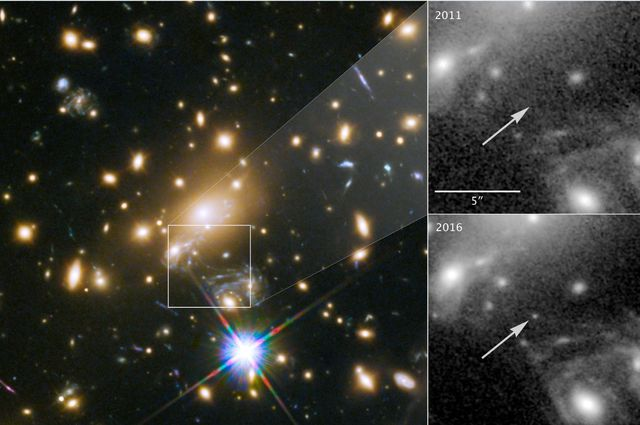 Icarus, the farthest individual star ever seen, shown at left. Panels at right show the view in 2011, without Icarus visible, compared with the star's brightening in 2016. - Image Credit: NASA, ESA and Patrick Kelly/University of Minnesota