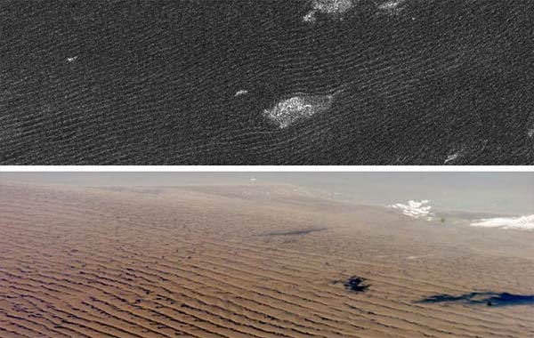 Dunes on Titan seen in Cassini's radar (top) that are similar to Namibian sand dunes on Earth. The features that appear to be clouds in the top picture are actually topographic features. - Image Credit: NASA