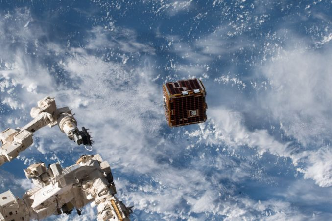 The RemoveDebris satellite deployed from the International Space Station on June 20. - Image Credit: NASA/NanoRacks/Ricky Arnold