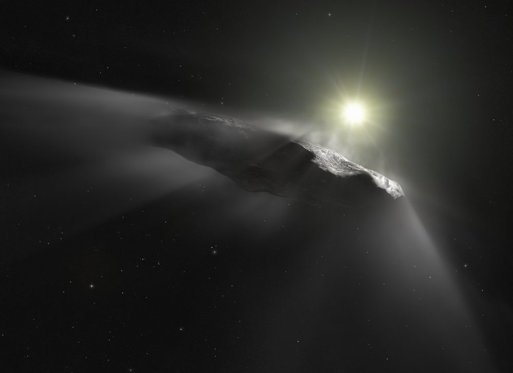 Artist's impression of the interstellar object, 'Oumuamua, experiencing outgassing as it leaves our Solar System. - Image Credit: ESA/Hubble, NASA, ESO, M. Kornmesser