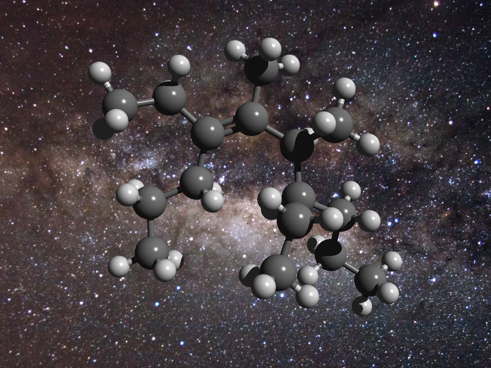 An illustration of the structure of a greasy carbon molecule, set against an image of the galactic centre, where this material has been detected. Carbon is represented as grey spheres and hydrogen as white spheres. - Image Credit: D. Young (2011), The Galactic Center. Flickr – CreativeCommons