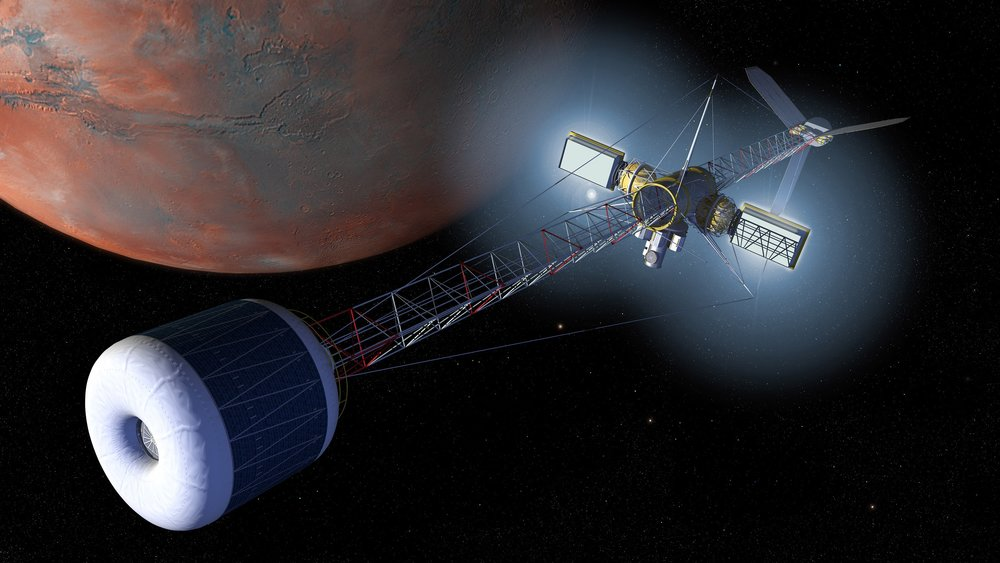 Artist's rendering of a Mars artificial gravity transfer vehicle. - Image Credit:  NASA
