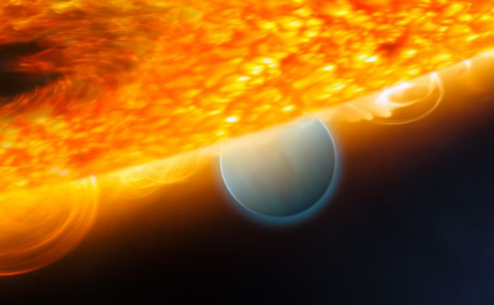 Artist's impression of the Jupiter-size extrasolar planet, HD 189733b, being eclipsed by its parent star. - Image Credits: ESA, NASA, M. Kornmesser (ESA/Hubble), and STScI - (click to enlarge)