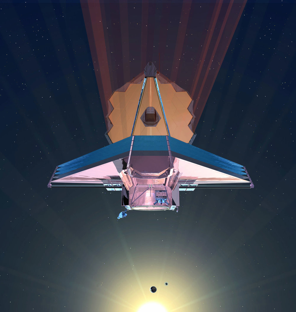 NASA's James Webb Telescope, shown in this artist's conception, will provide more information about previously detected exoplanets. Beyond 2020, many more next-generation space telescopes are expected to build on what it discovers. - Image Credit: NASA - (click to enlarge)