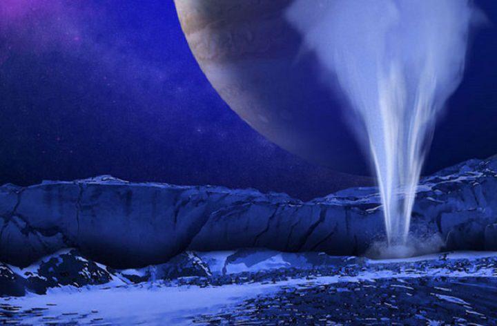 Artist's impression of a water vapor plume on Europa. - Image Credit: NASA/ESA/K. Retherford/SwRI