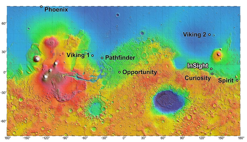 The locations on Mars' surface visited by landers to date. It is far easier to land near Mars' equator than its poles. - Image Credit: NASA/JPL-Caltech