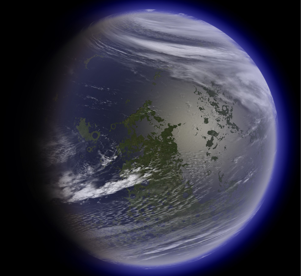 Artist's concept of a terraformed moon. According to a new study, the Moon may have had periods of habitability in its past where it had an atmosphere and liquid water on its surface. - Image Credit:Ittiz
