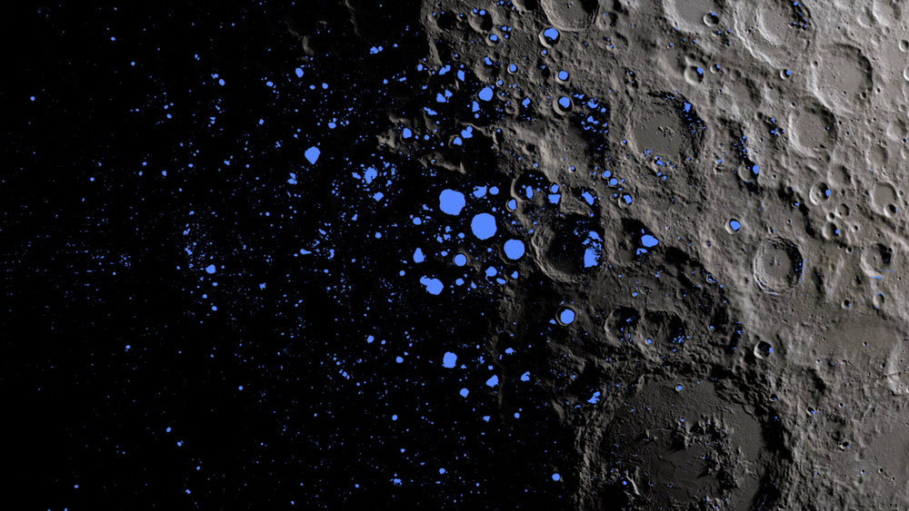 A map showing the permanently shadowed regions (blue) that cover about 3 percent of the moon's south pole. - Image Credit: NASA Goddard/LRO mission