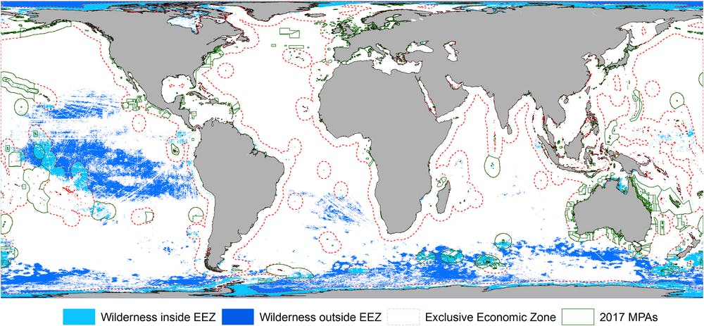 Marine wilderness in exclusive economic zones (light blue), in areas outside national jurisdiction (dark blue), and marine protected areas (green). - Image Credit:Jones et al. Current Biology 2018