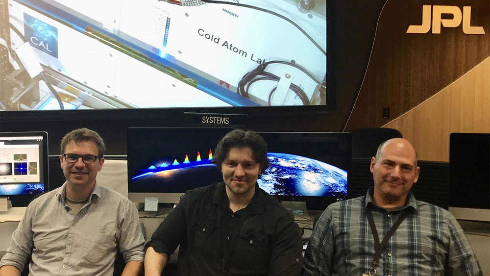 JPL scientists and members of the Cold Atom Lab's atomic physics team (left to right) David Aveline, Ethan Elliott and Jason Williams. - Image Credit: NASA/JPL-Caltech