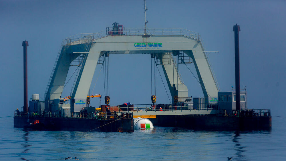 Project Natick shown being deployed at sea. -Image Credit: Project Natick / Microsoft