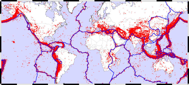 Map of the Earth showing fault lines (blue) and zones of volcanic activity (red). - Image Credit: zmescience.com