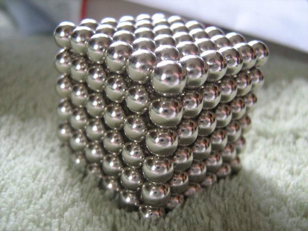 A cube of small neodymium magnets - Image Credit:  XRDoDRX ,  CC BY-SA