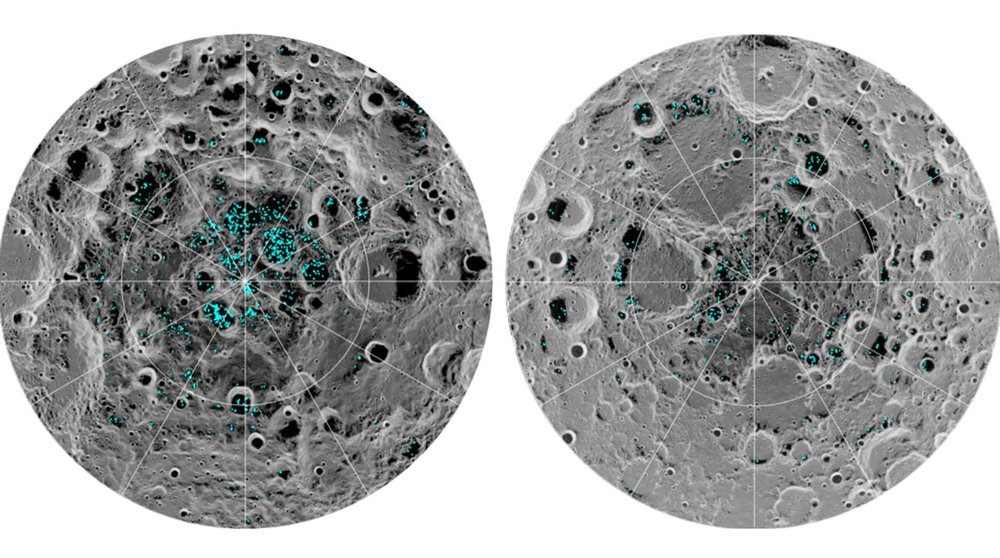 The image shows the distribution of surface ice at the Moon's south pole (left) and north pole (right), detected by NASA's Moon Mineralogy Mapper instrument. Blue represents the ice locations, plotted over an image of the lunar surface, where the gray scale corresponds to surface temperature (darker representing colder areas and lighter shades indicating warmer zones). The ice is concentrated at the darkest and coldest locations, in the shadows of craters. This is the first time scientists have directly observed definitive evidence of water ice on the Moon's surface. - Image Credits: NASA