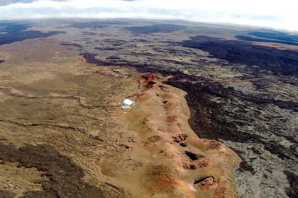 Aerial image of the Hi-SEAS habitat, acquired on April 20th, 2016. - Image Credit: NASA/Hi-SEAS