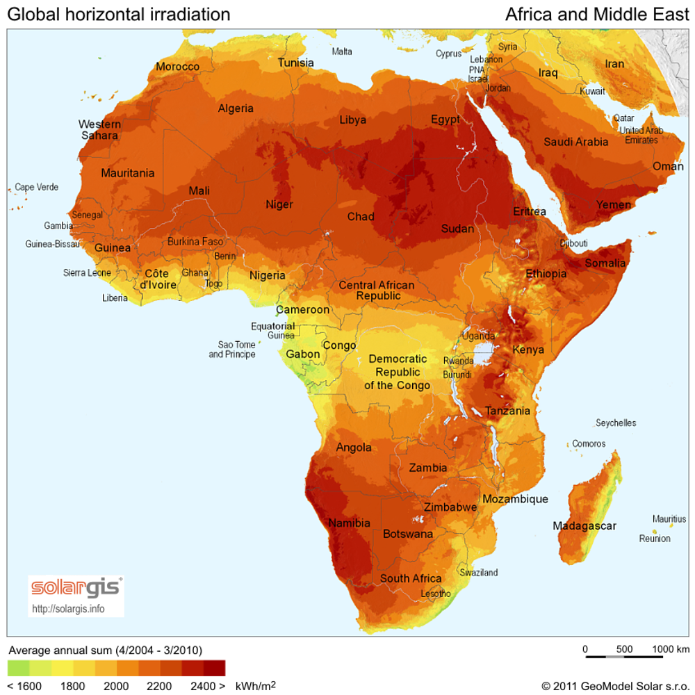 Africa has the greatest solar resource of any continent – by far. - Image Credit:  SolarisGIS via Wikimedia Commons ,  CC BY-SA