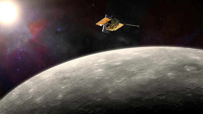 Artist view of the MESSENGER spacecraft orbiting the innermost planet Mercury. - Image Credit: NASA