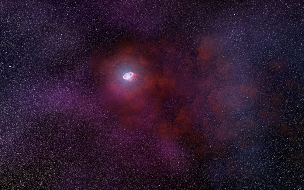 This is an illustration of a pulsar wind nebula produced by the interaction of the outflow particles from the neutron star with gaseous material in the interstellar medium that the neutron star is plowing through. Such an infrared-only pulsar wind nebula is unusual because it implies a rather low energy of the particles accelerated by the pulsar's intense magnetic field. This hypothesized model would explain the unusual infrared signature of the neutron star as detected by NASA's Hubble Space Telescope. - Image Credits: NASA, ESA, and N. Tr'Ehnl (Pennsylvania State University)