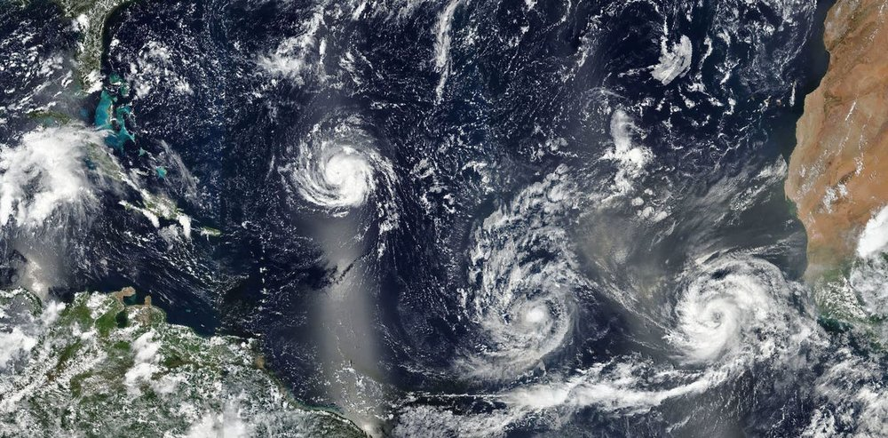 Storms Florence, Isaac and Helene on September 9. = Image Credits: EPA / NASA