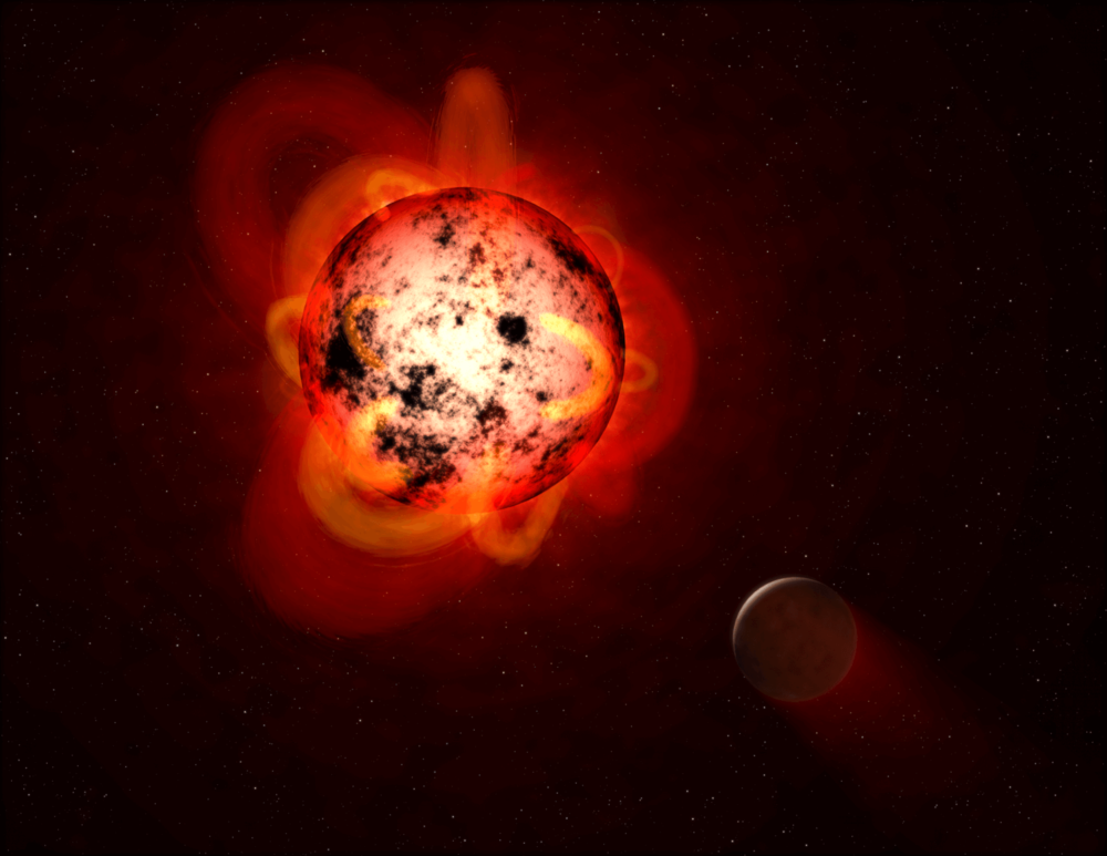 Artist's impression of a flaring red dwarf star, orbited by an exoplanet. - Image Credit: NASA, ESA, and G. Bacon (STScI)