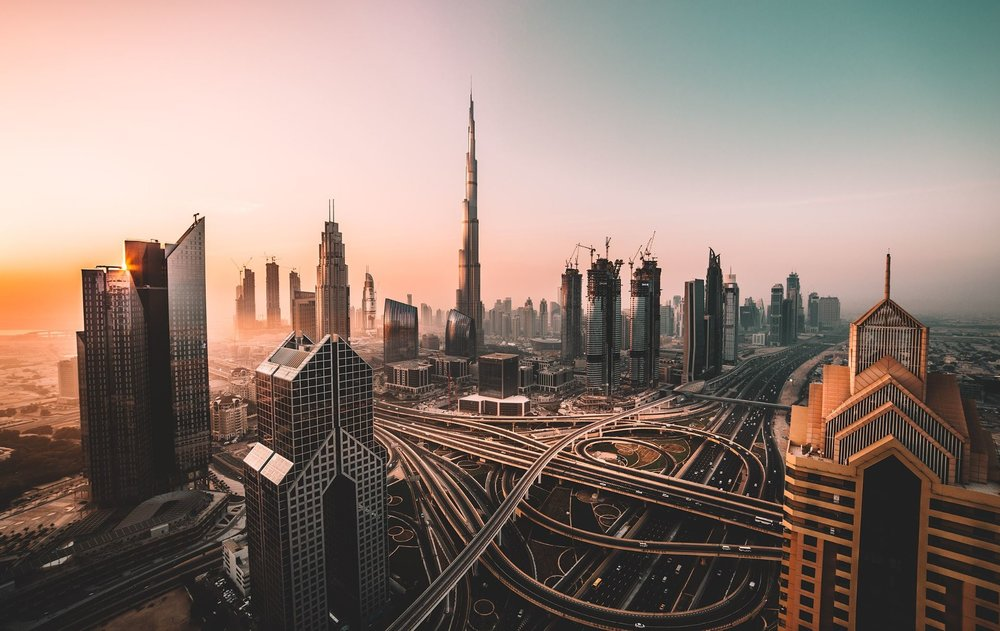 The Dubai skyline featuring the Burj Khalifa (centre) - Image Credit:  David Rodrigo via Unsplash