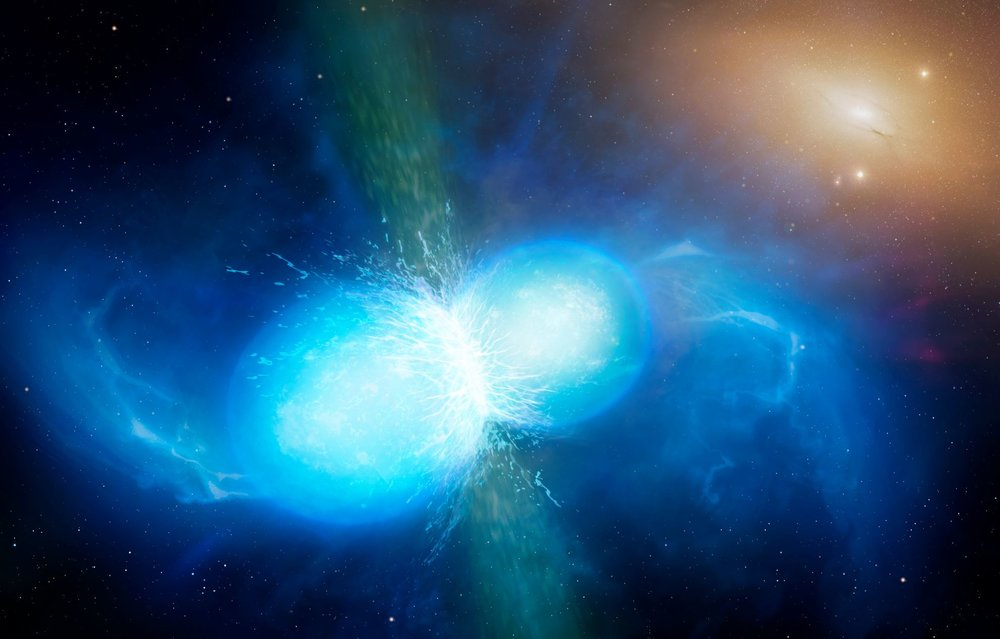 This artist's impression shows two tiny but very dense neutron stars at the point at which they merge and explode as a kilonova. Such a very rare event is expected to produce both gravitational waves and a short gamma-ray burst, both of which were observed on 17 August 2017 by LIGO–Virgo and Fermi/INTEGRAL respectively. - Image Credit:  University of Warwick/Mark Garlick via Wikimedia Commons