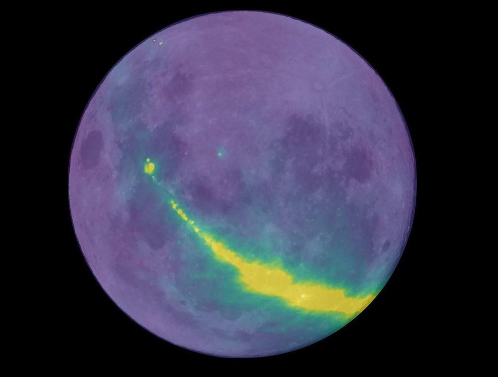 Radio waves from our galaxy, the Milky Way, reflecting off the surface of the Moon. Image Credit: Dr Ben McKinley, Curtin University/ICRAR/ASTRO 3D. - Moon image courtesy of NASA/GSFC/Arizona State University.