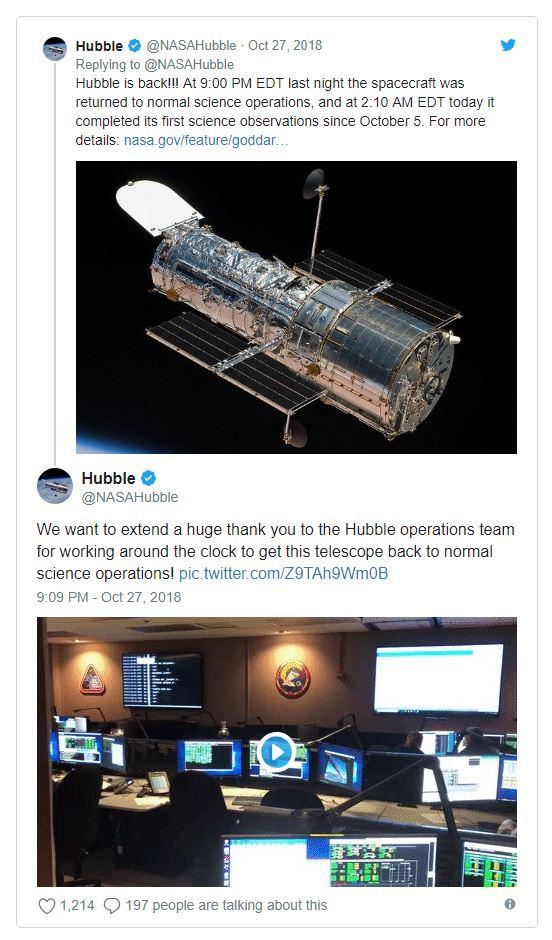 Image Credit:  Hubble via twitter
