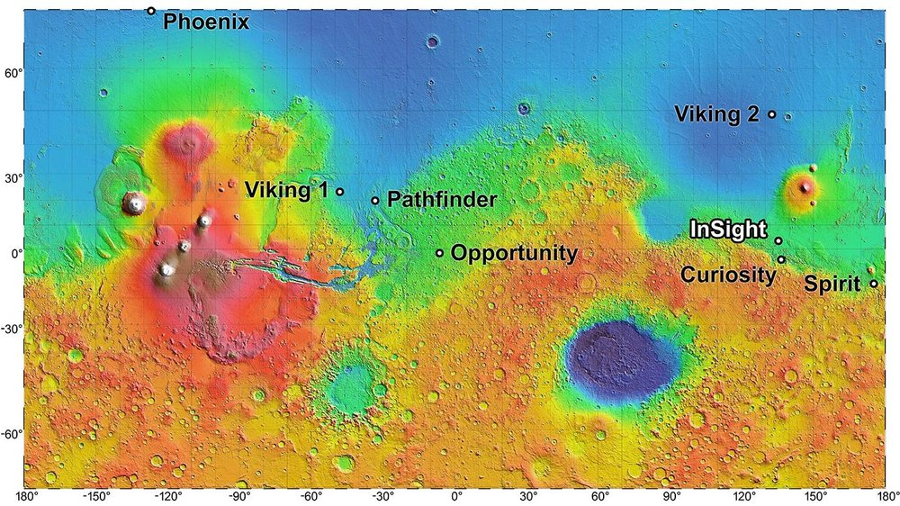 The landing site for InSight, in relation to landing sites for seven previous missions, is shown on a topographic map of Mars. - Credits: NASA/JPL-Caltech