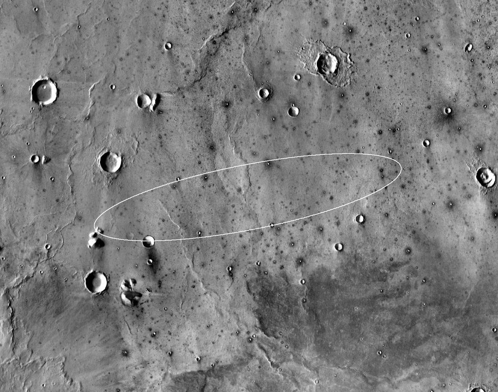 This map shows the single area under continuing evaluation as the InSight mission's Mars landing site, as of a year before the mission's May 2016 launch. The finalist ellipse marked is within the northern portion of flat-lying Elysium Planitia about four degrees north of Mars' equator. - Image Credits: NASA/JPL-Caltech