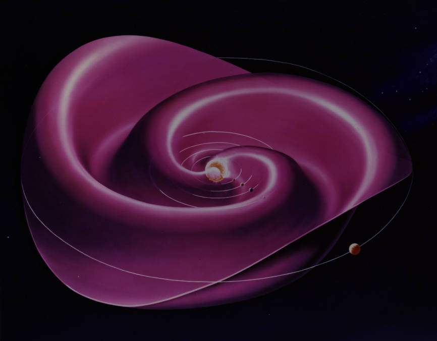 The Sun's magnetic field, which is embedded in the solar wind, permeates the entire solar system. The current sheet — where the magnetic field changes polarity —spirals out from near the solar equator like a wavy skirt around a ballet dancer's waist. - Image Credit: Credits: NASA's Goddard Space Flight Center