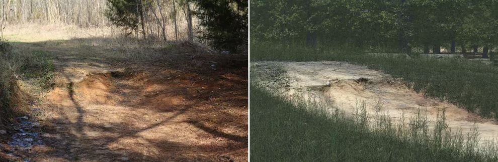 A road washout, as seen in real life, left, and in simulation.- Image Credit: Chris Goodin, Mississippi State University,Author provided