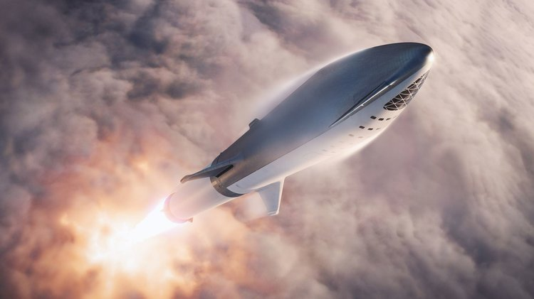 Artist's impression of the BFR rocket being launched into orbit. Credit: SpaceX - Image Credit:  SpaceX via flickr