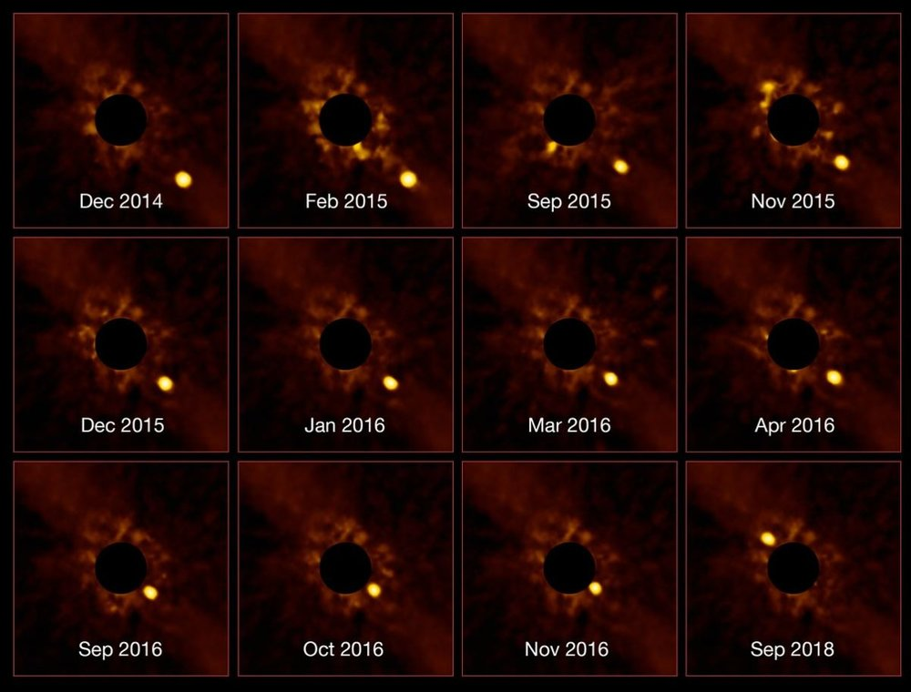 ESO's Very Large Telescope (VLT) has captured an unprecedented series of images showing the passage of the exoplanet Beta Pictoris b around its parent star. - Image Credit: ESO/Lagrange/SPHERE consortium