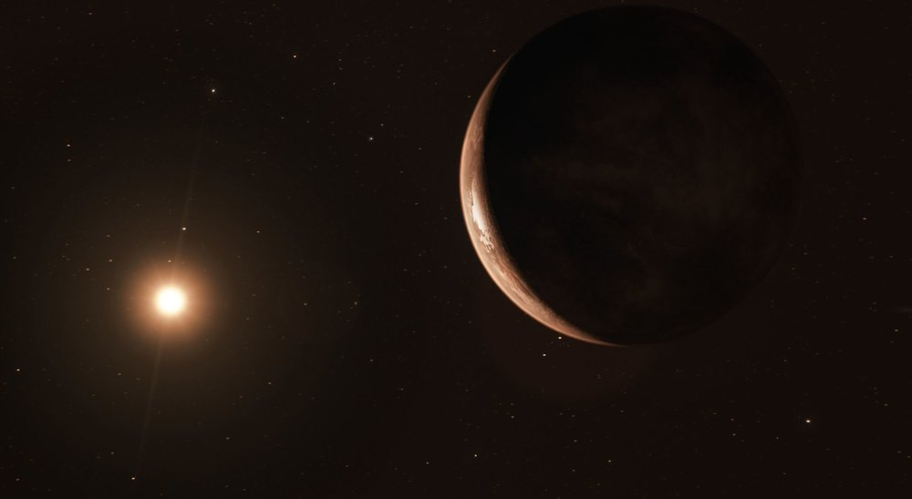 This image shows an artist's impression of the exoplanet viewed from space. - Image Credit:  ESO/M. Kornmesser