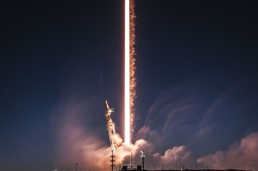 A SpaceX Falcon 9 rocket launching two of the company's test Starlink satellites in February, 2018. - Image Credit: SpaceX