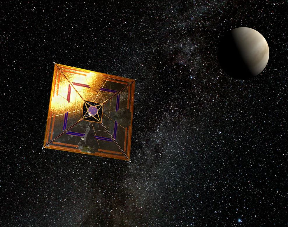 Artist's impression of the IKAROS mission using a solar sail. - Image Credit:  Wikimedia/Andrzej Mirecki ,  CC BY-SA