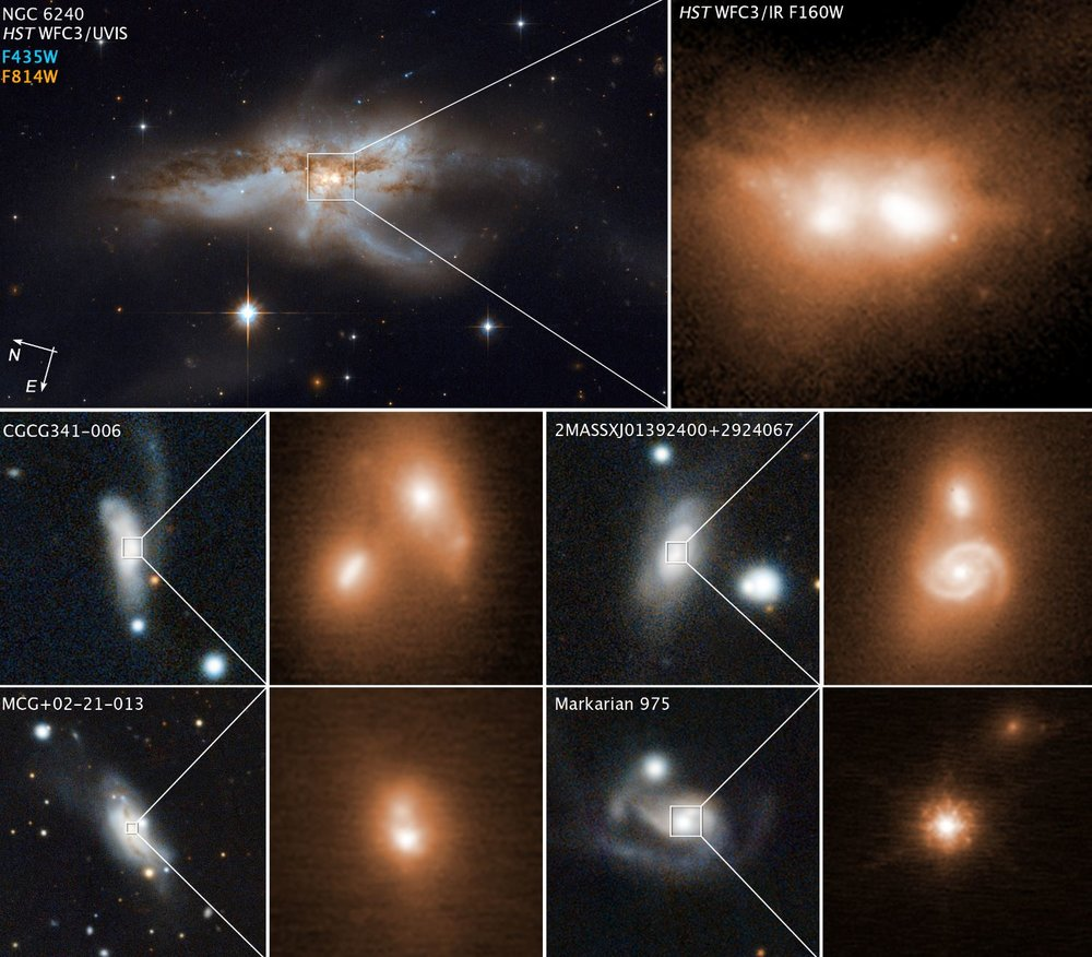 Images of four other colliding galaxies, along with close-up views of their coalescing nuclei in the bright cores, are shown beneath the Hubble snapshots of NGC 6240. The left image of each pair, showing the merging galaxies, was taken by the Panoramic Survey Telescope and Rapid Response System (Pan-STARRS). The right image, showing the bright cores, was taken in near-infrared light by the W. M. Keck Observatory in Hawaii, using adaptive optics to sharpen the view. The nuclei in each of the Hubble and Keck Observatory infrared photos are only about 3,000 light-years apart — a near-embrace in cosmic terms. If there are pairs of black holes, they will likely merge within the next 10 million years to form a more massive black hole. These observations are part of the largest-ever survey of the cores of nearby galaxies using high-resolution images in near-infrared light taken by the Hubble and Keck observatories. The survey galaxies' average distance is 330 million light-years from Earth. - Image Credits: NASA, ESA, and M. Koss (Eureka Scientific, Inc.); W. M. Keck Observatory; Panoramic Survey Telescope and Rapid Response System (Pan-STARRS)