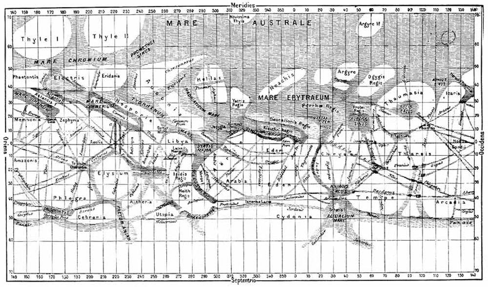 Giovanni Schiaparelli's map of Mars, compiled over the period 1877-1886. - Image Credit:  NASA/Flammarion, La Planète Mars