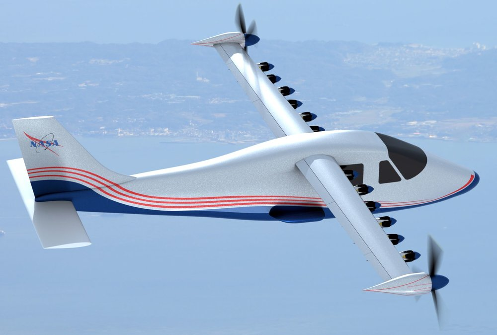 This artist's concept of NASA's experimental electric plane design shows 14 motors along the wings - Image Credit:  NASA