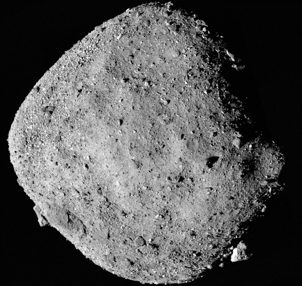 This mosaic image of asteroid Bennu is composed of 12 PolyCam images collected on Dec. 2 by the OSIRIS-REx spacecraft from a range of 15 miles (24 km). - Image Credits: NASA/Goddard/University of Arizona