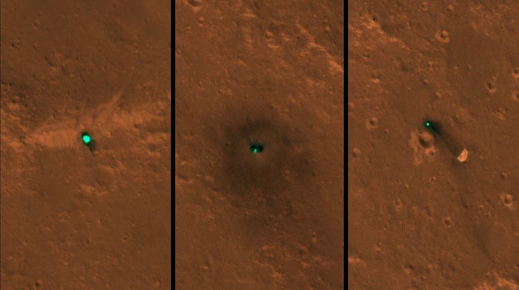 NASA's InSight spacecraft, its heat shield and its parachute were imaged on Dec. 6 and 11 by the HiRISE camera onboard NASA's Mars Reconnaissance Orbiter. - Image Credit: NASA/JPL-Caltech/University of Arizona