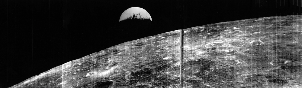 The non-human version of Earthrise from Lunar Orbiter in 1966. - Image Credit: NASA