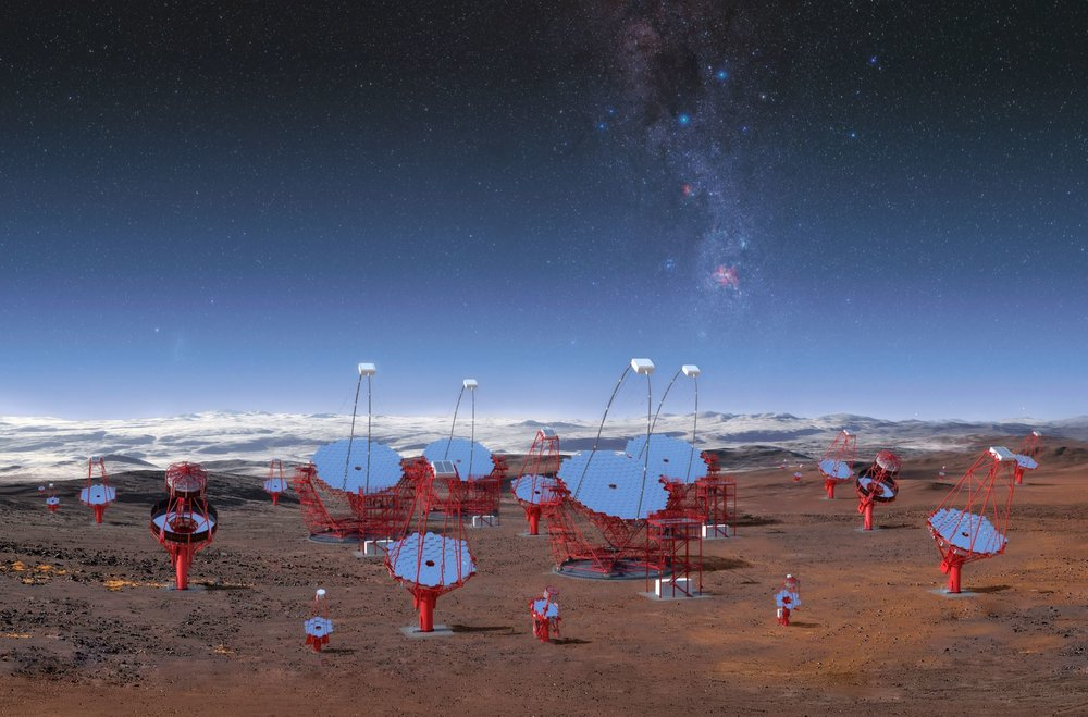 This image illustrates all three classes of the 99 telescopes planned for the southern hemisphere at  ESO's Paranal Observatory , as viewed from the centre of the array. This rendering is not an accurate representation of the final array layout, but it illustrates the enormous scale of the CTA telescopes and the array itself. - Image Credit: CTA/M-A. Besel/IAC (G.P. Diaz)/ESO