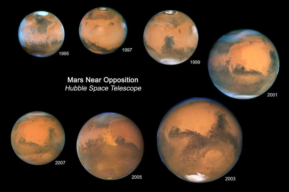 The light travel time from Mars to Earth changes as the distance to Mars changes. - Image Credit:  NASA, ESA, and Z. Levay (STScI) ,  CC BY
