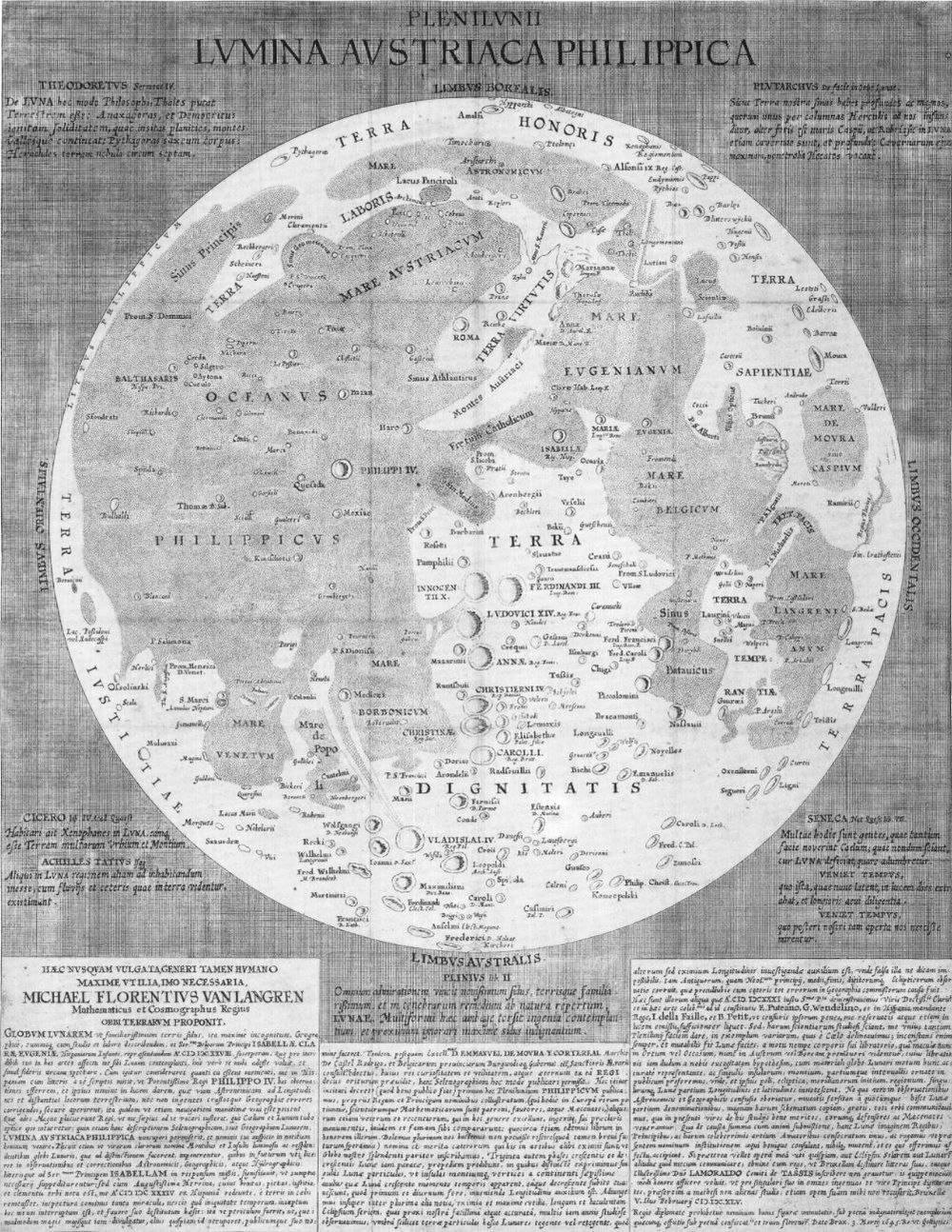 Map of the Moon by Michael van Langren (1655) - Image Credit:  Michael van Langren via Wikimedia Commons
