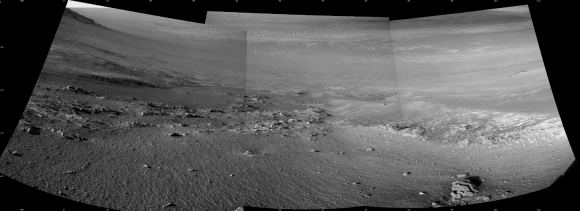 This composite image is from Opportunity's NavCam. It shows the textured rows of soil and gravel that Opportunity was investigating before it went silent. The rows may have been caused by repeated freezing and thawing. Image taken on Sol 4,958. Image Credit: NASA/JPL-Caltech