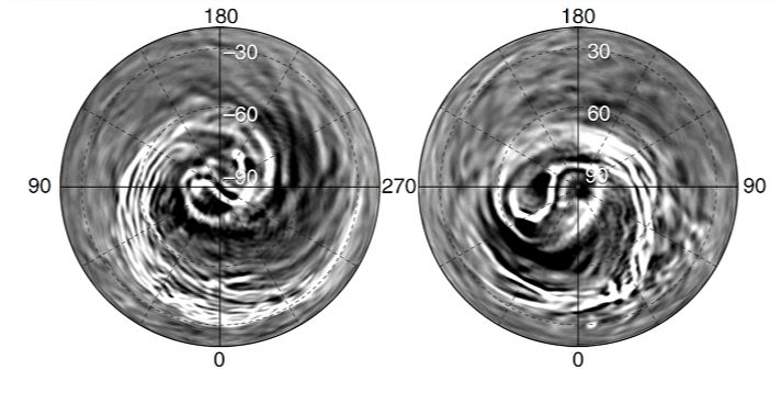 Polar views of the atmospheric streaks in Venus' atmosphere captured by the IR2 instrument on the Akatsuki spacecraft. C is the south polar view, and D is the north polar view. Image: Kashimura et. al. 2019.